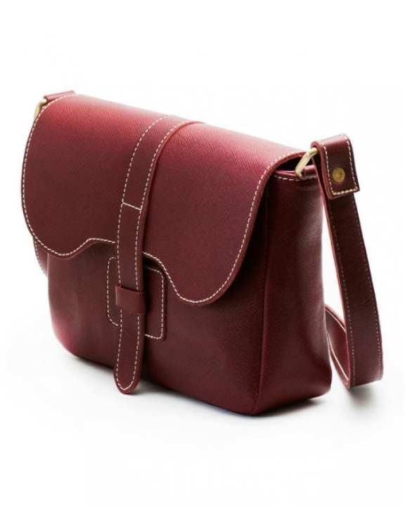 Burgundy Leather Sling Bag For Women
