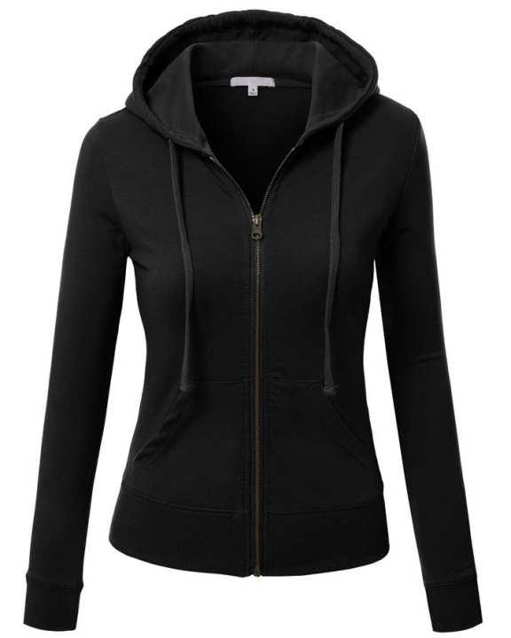 Black Zipper Fleece Hoodie For Women