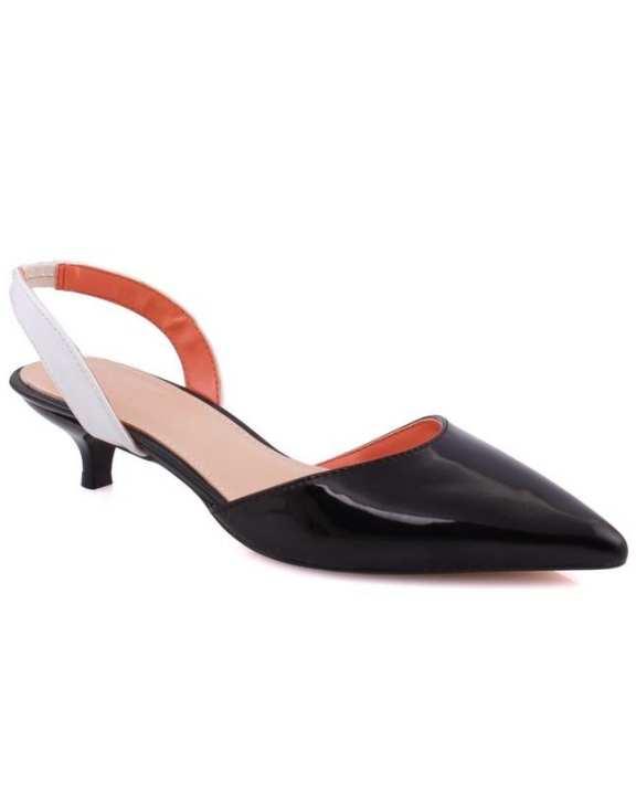 "New Women ""JUNE"" Patent Sling-Back Court Shoes Black/White L30365"