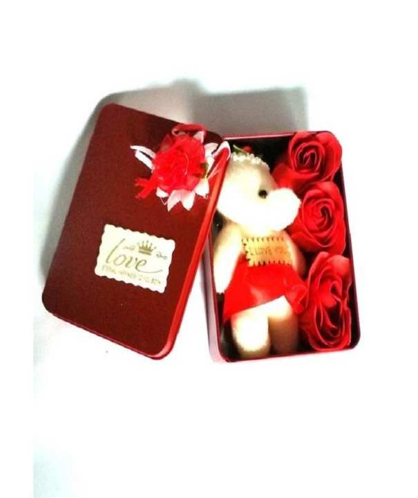Jewelry Box With Teddy Bear - Red
