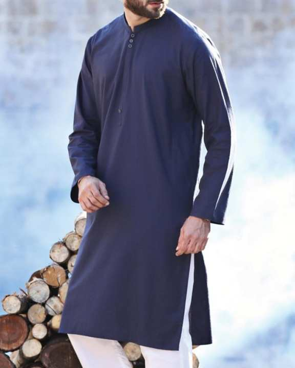 Blue Blended Stitched Kurta-Winter Collection Vol.04