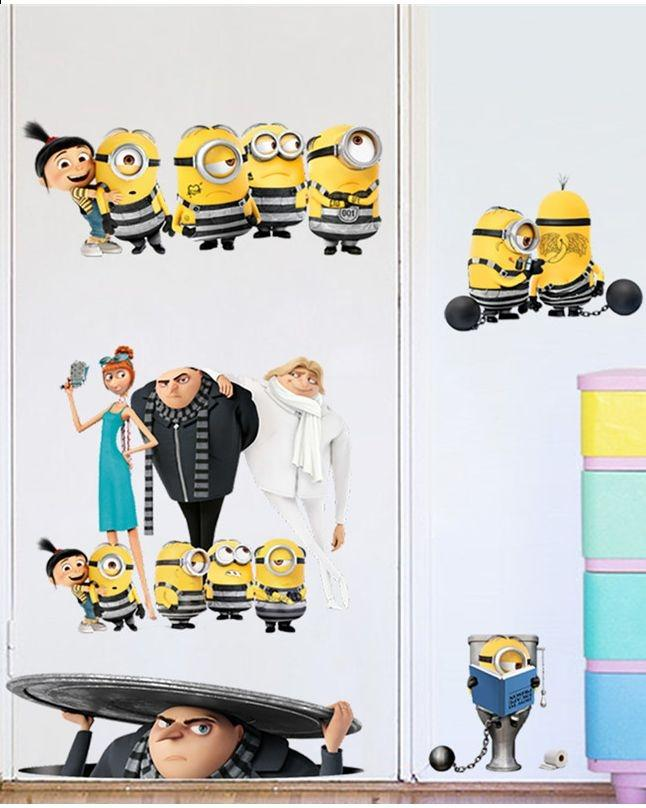 3D Minions Vinyl Wall Stickers For Kids Living Room Children Computer Room And Wall Decoration