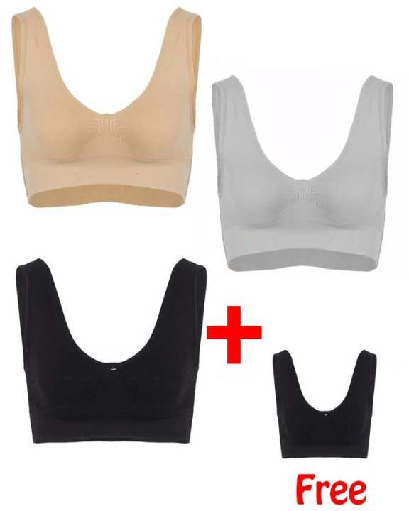 Get 1 Black Air bra Free with Pack of 3 - Multicolor Cotton Comfort Bra For Women