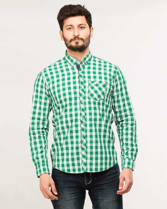 White & Green Cotton Checked shirt For Man