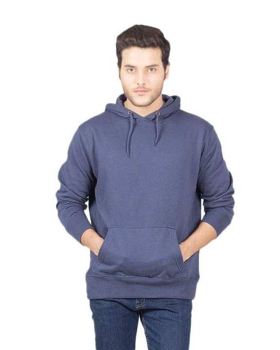 Navy Blue Cotton & Fleece Hoodie For Men - ARA-PHood-N3