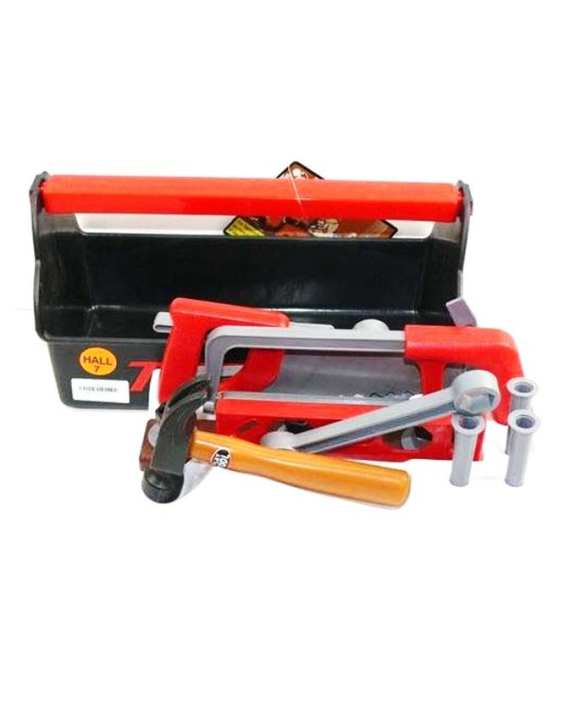 Plastic Tool Set with Carrier - Multicolour