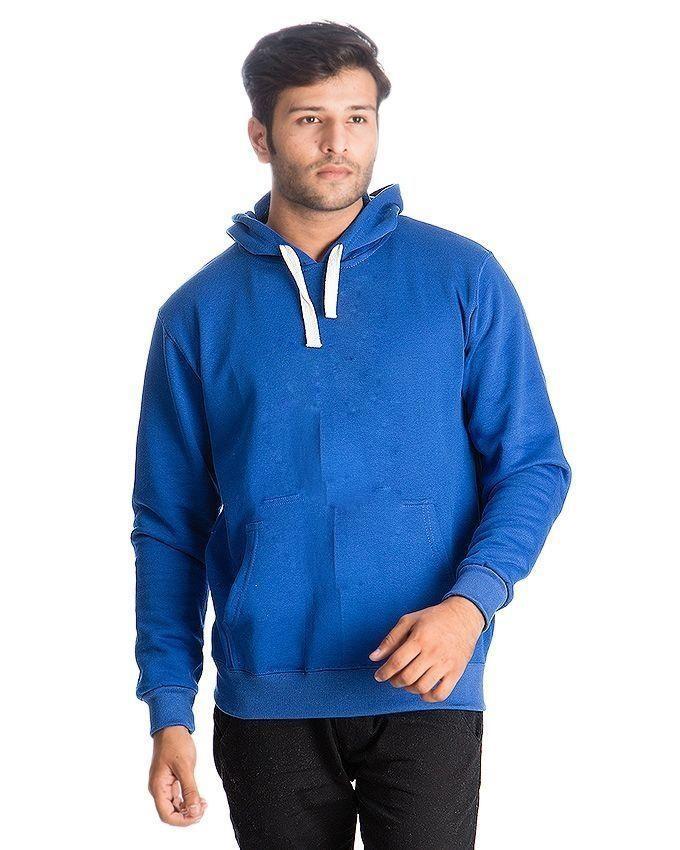 Blue Jersey Fleece Hoodie for Men