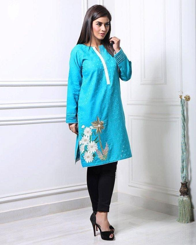 Green Sana & Samia Kurti Collection
