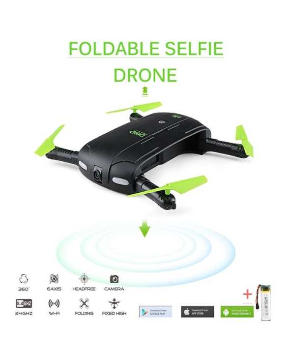 Fpv Wifi Foldable Drone Camera 6 Axis Phone Controlled - Black