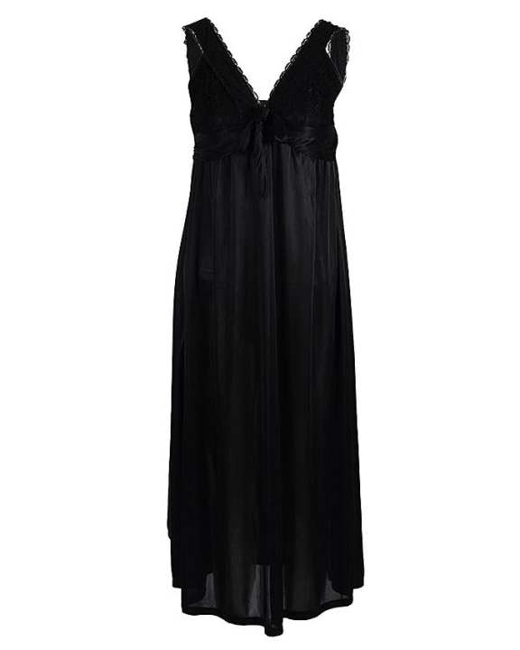 Black Polyester Night Gown For Women - 1802B
