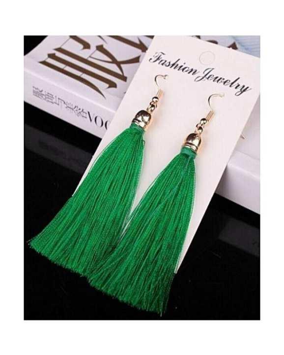 Long Green Tassel Drop Earrings Jewelry For Women