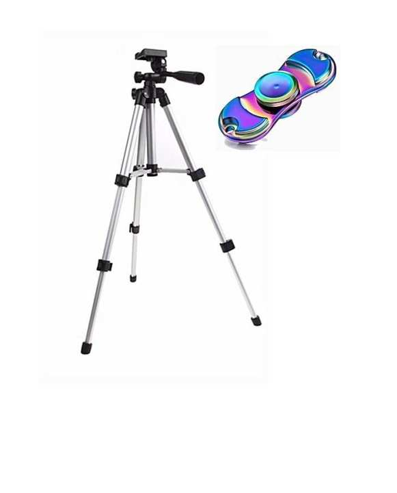 Pack of 2 - WT3110A Portable Mobile Phone Tripod Stand + Metal Spinner - Black