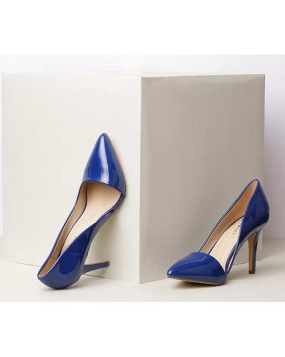 Synthetic Royal Blue Heels For Women