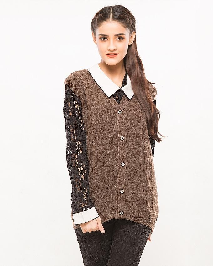 Oxford Angora Wool Sleeveless Cardigan For Women