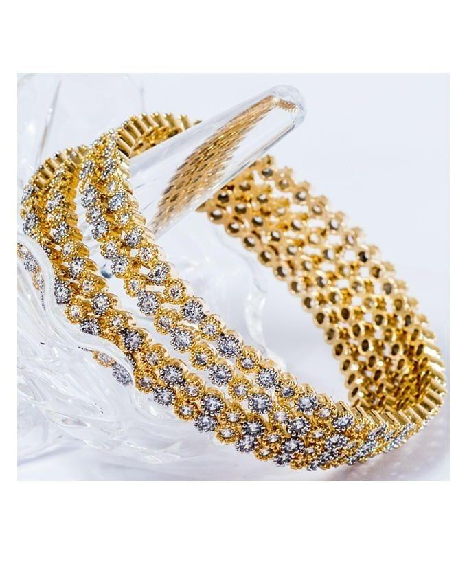 18K Golden Metal Bangles Set For Women - Size 2:30 - 4Pcs