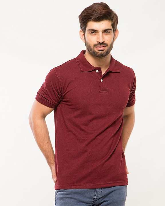 Maroon Poly-Cotton Polo T Shirt for Men