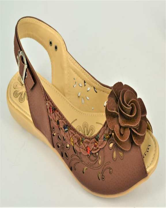 Brown Rexine And Rubber Flat Sandal for Women