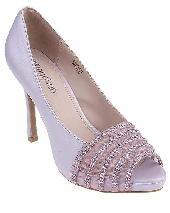 Maya Traders Purple Imported Synthetic Leather Glittery High Heels for Women - UU95