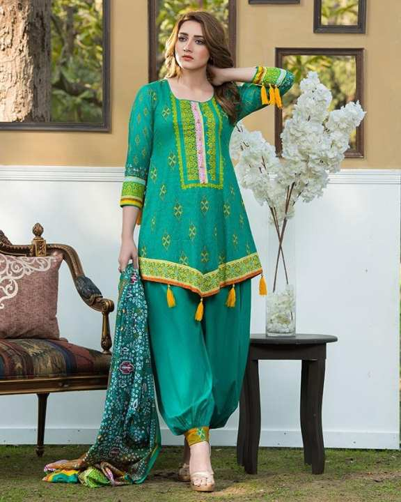 Green Printed 3Pcs- Unstitched  Lawn For Women