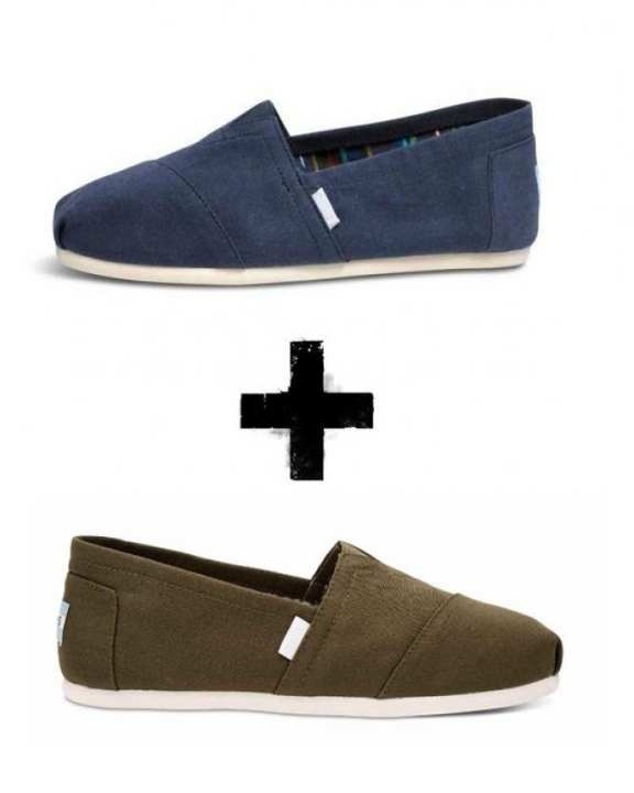 Pack of 2 - Blue & Olive Canvas Classic Slip Ons for Men