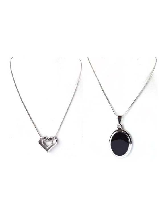 Pack of 2 - Silver Metal Round Black Stone & Heart Shape Pendants