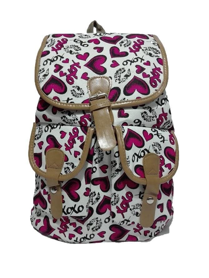 Red Heart Print Backpack Bag For Girls 47a69d3bcdb2c