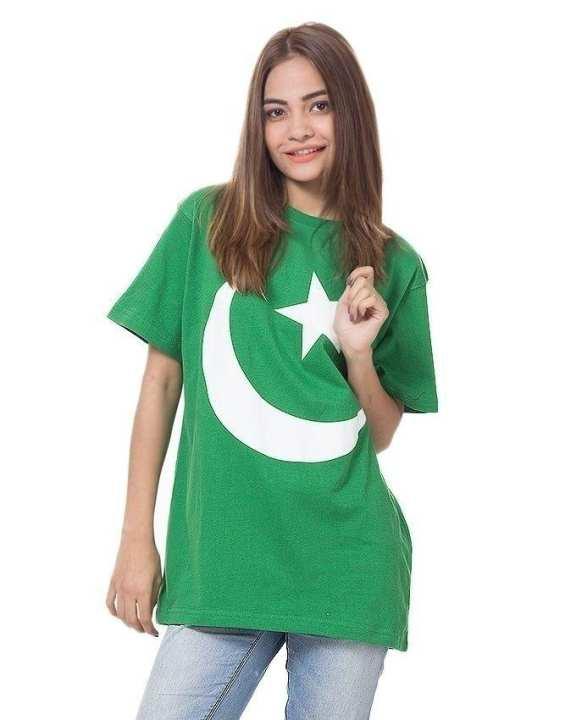 Green Cotton Pakistan Flag Chand Sitara Half Sleeves Round Neck Plain T-Shirt For Women