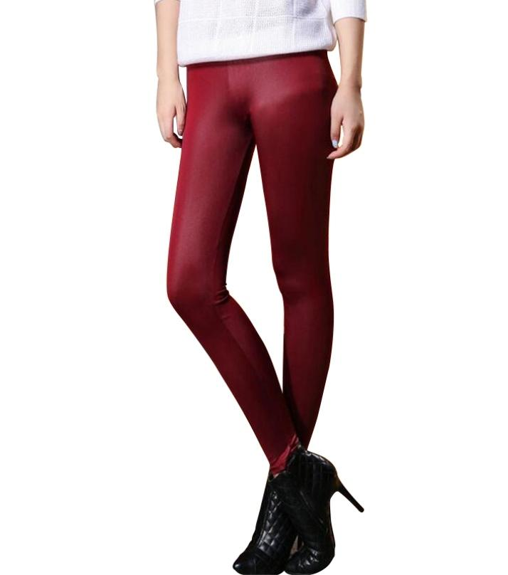 2a1052fd269 Deep Red Faux Leather Tights For Women