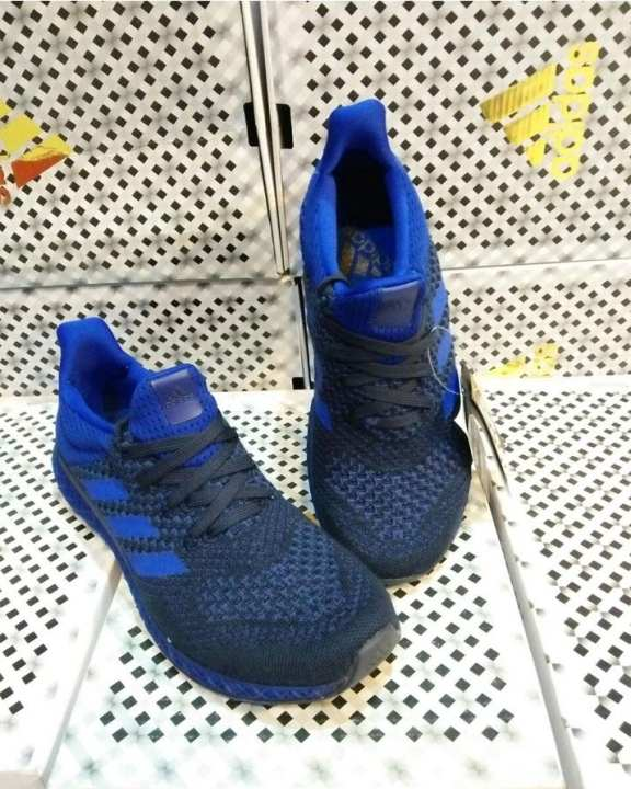Dark Blue Canvas Style Sports Sneakers For Mens