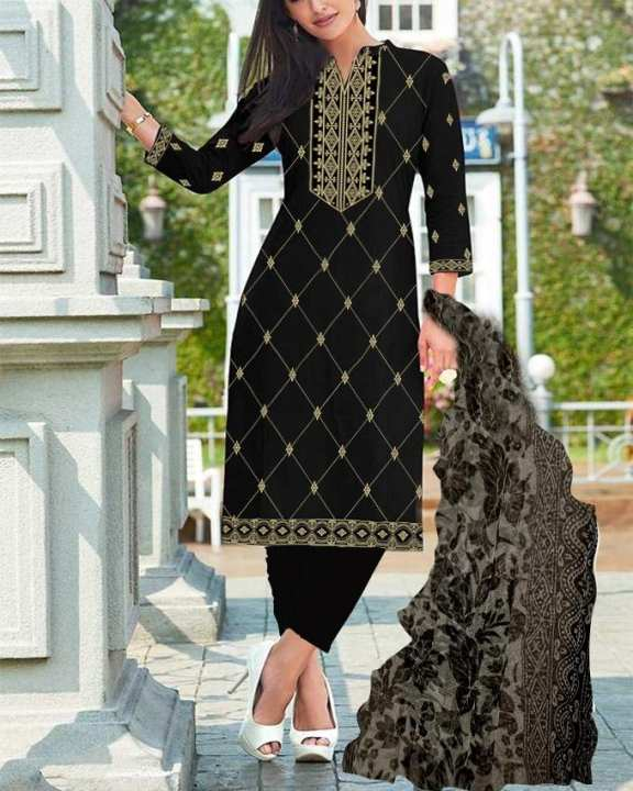Black Cotton Unstitch 3Pc Suit With Beige Embroidery For Woman