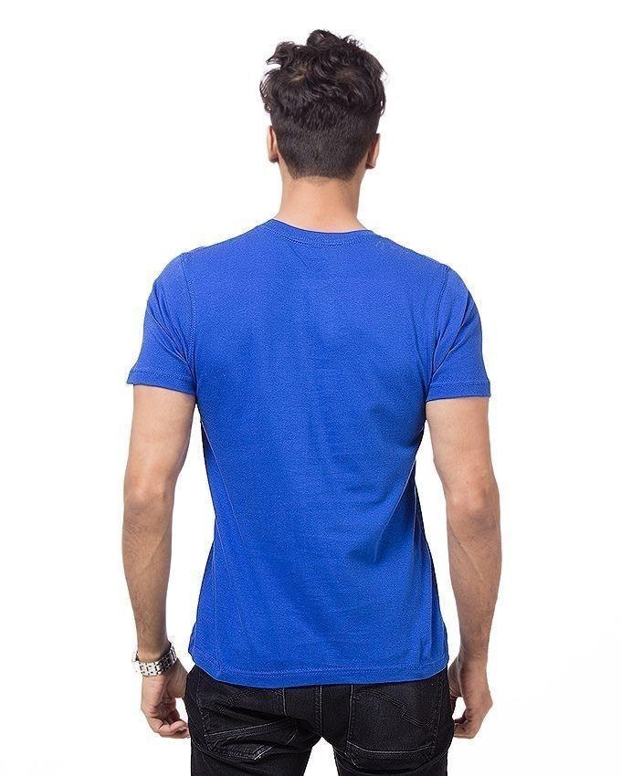 Royal Blue Cotton Printed T-shirt