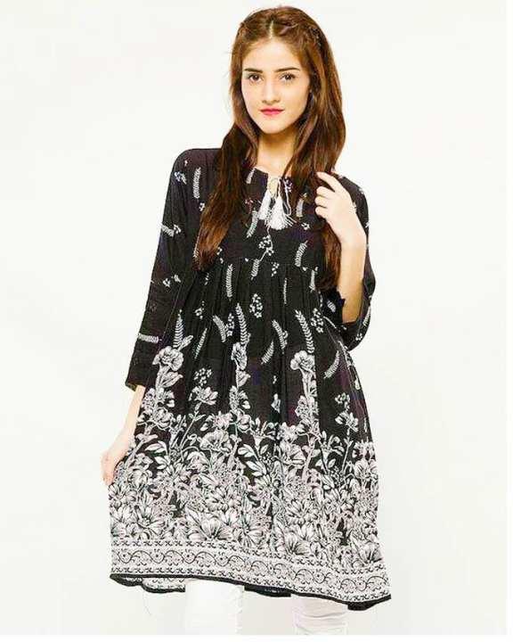Black and White Cotton Kurti for Women