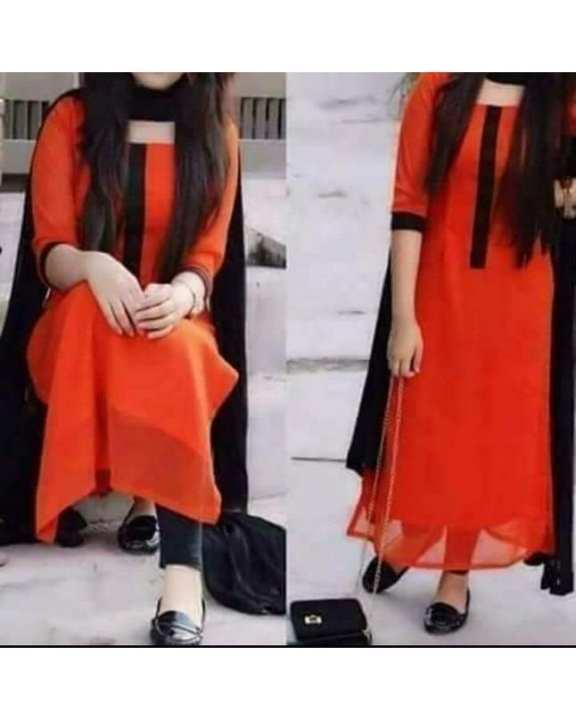 Orange Black Chiffon Dress for Women  - A&S-6516