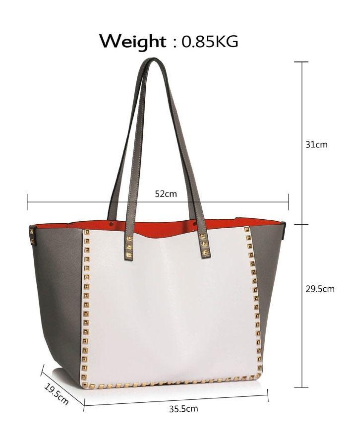 Grey / White Studded Shoulder Handbag - LS00477