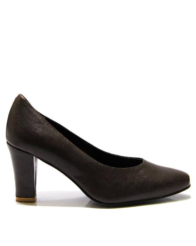 Brown Leather Pumps For Women - 086-2201