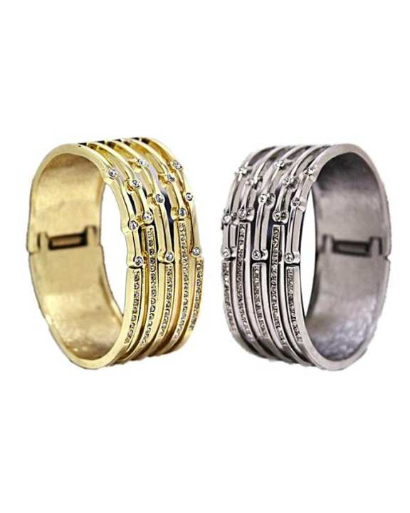 Golden and Silver Stone Bangle - Pack of 2