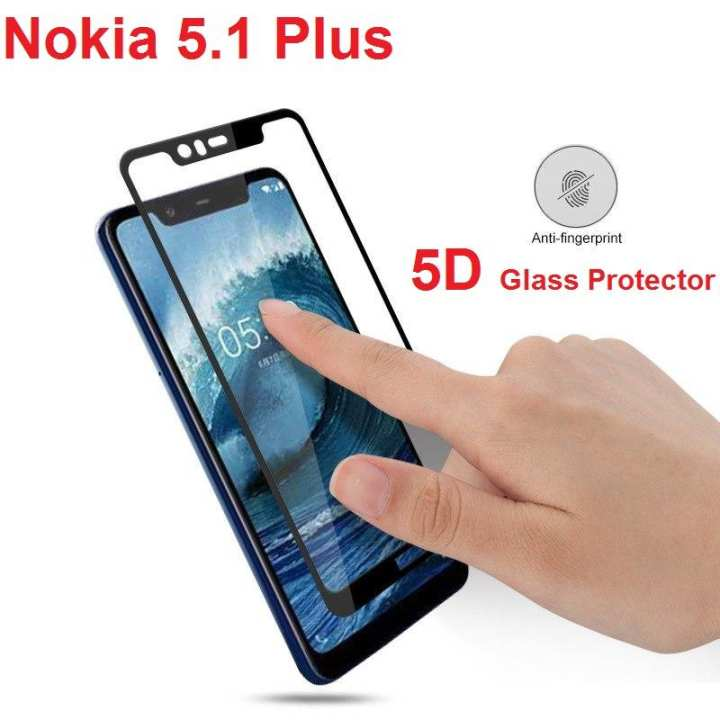 Nokia 5.1 Plus 5D Glass Protector Full Screen Cover Glass - Black