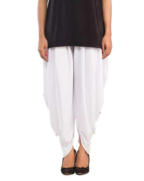 White Cotton Lycra Tulip Shalwar for Women