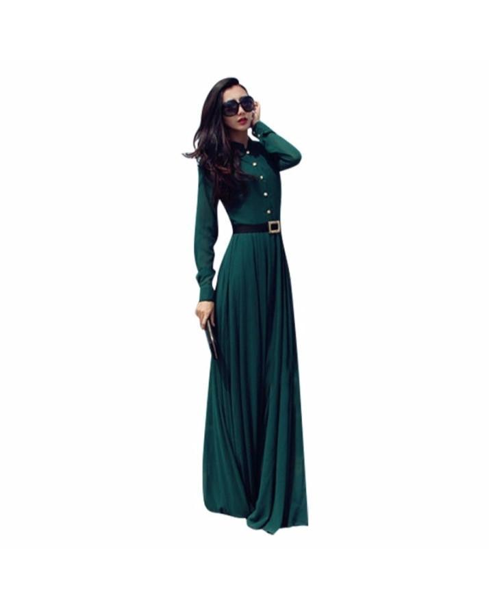 Green Cocktail Long Maxi Dress