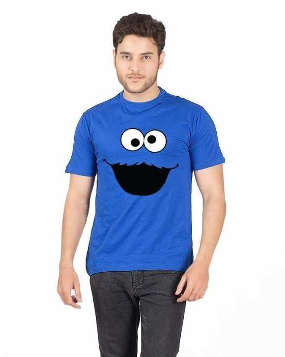 Blue Cotton Cookie Monster T-Shirt For Men