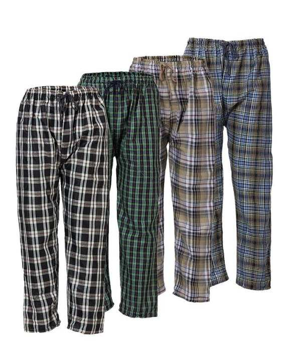 Pack of 4 - Multicolor Checkered Pajamas for Men- Multi Color