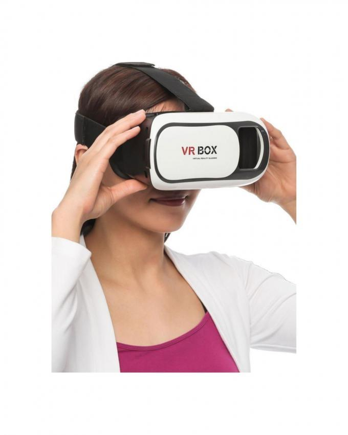 Virtual Reality Headset With Bluetooth Gamepad Remote Controller - White & Black