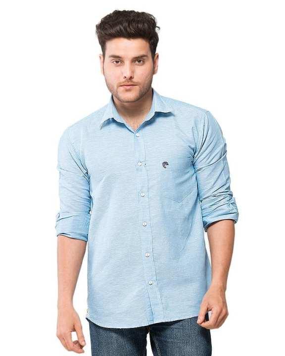 Blue Cotton Chambrey Shirt for Men - EPS03