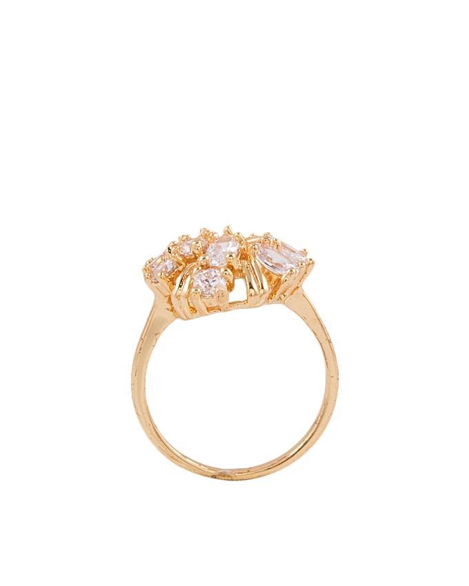 Golden Zircon & Alloy Studded Ring for Women - M-16