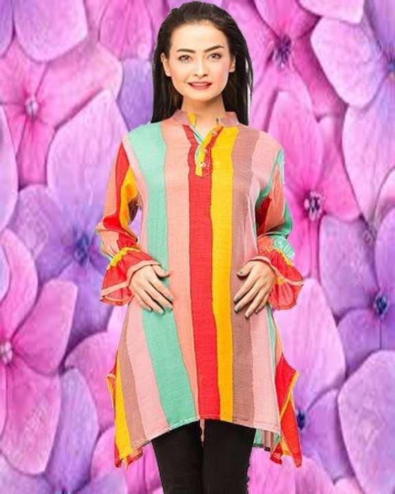 Women Printed Linen Kurta with Cut Style Work