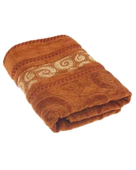 Velour Jacquard Towel - Rust