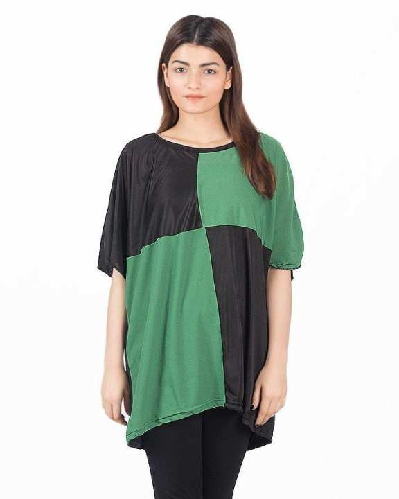 Green & Black Polyester Box Printed Top For Women