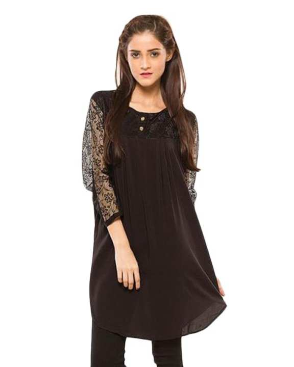Black Cotton Net Sleeves Kurti For Women
