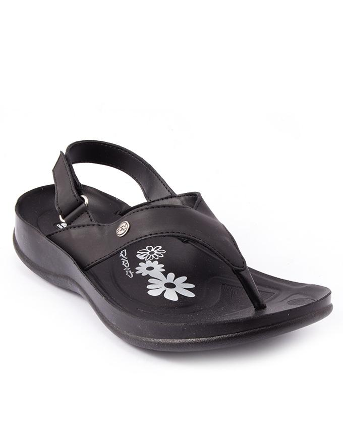 Black Synthetic Leather Sandals For Women