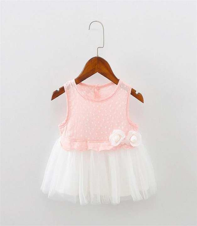 Pink & White - Cotton Frock For Girls
